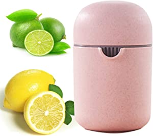 Lemon Squeezer Citrus Juicer Orange Manual Juicer Travel and Kitchen Drinking Dinning DIY Juice Tool Rotary Pressure Squeezer with Container and Filter Strainer Light Portable pp Straw (pink juicer)