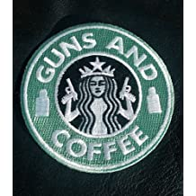 STARBUCKS GUNS &amp, COFFEE EMBROIDERED USA ARMY IRON ON PATCH