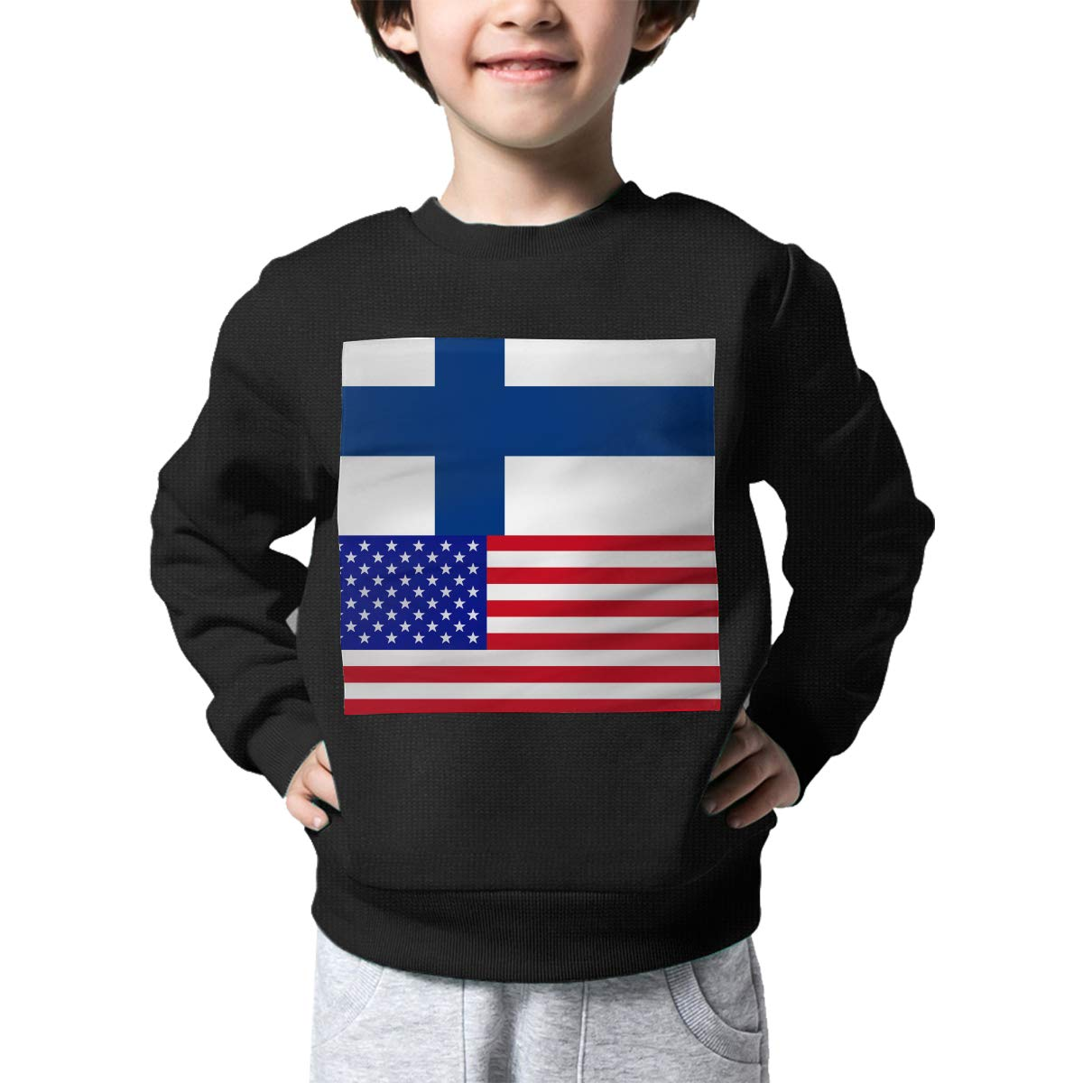 NJKM5MJ Boys Girls Finland-American Proud Lovely Sweaters Soft Warm Unisex Children Kids Sweater