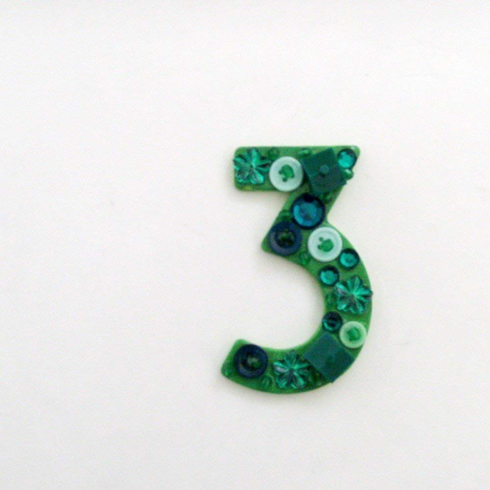 Amazon com: Number 3 Brooch - Pin / ME2Designs Upcycled