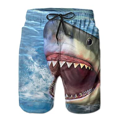 Cartoon Shark Mans 3D Print Graphic Quick Drying Swim Trunks Board Shorts Beach Swim Shorts