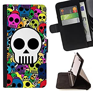 Skull Wallpaper Colorful Pirate Drawing - Painting Art Smile Face Style Design PU Leather Flip Stand Case Cover FOR Apple Iphone 4 / 4S @ The Smurfs