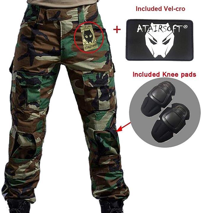 Worldshopping4U - Pantalones de combate BDU para hombre, con rodilleras, camuflaje, para militar, airsoft, paintball, color blanco y negro: Amazon.es: Deportes y aire libre