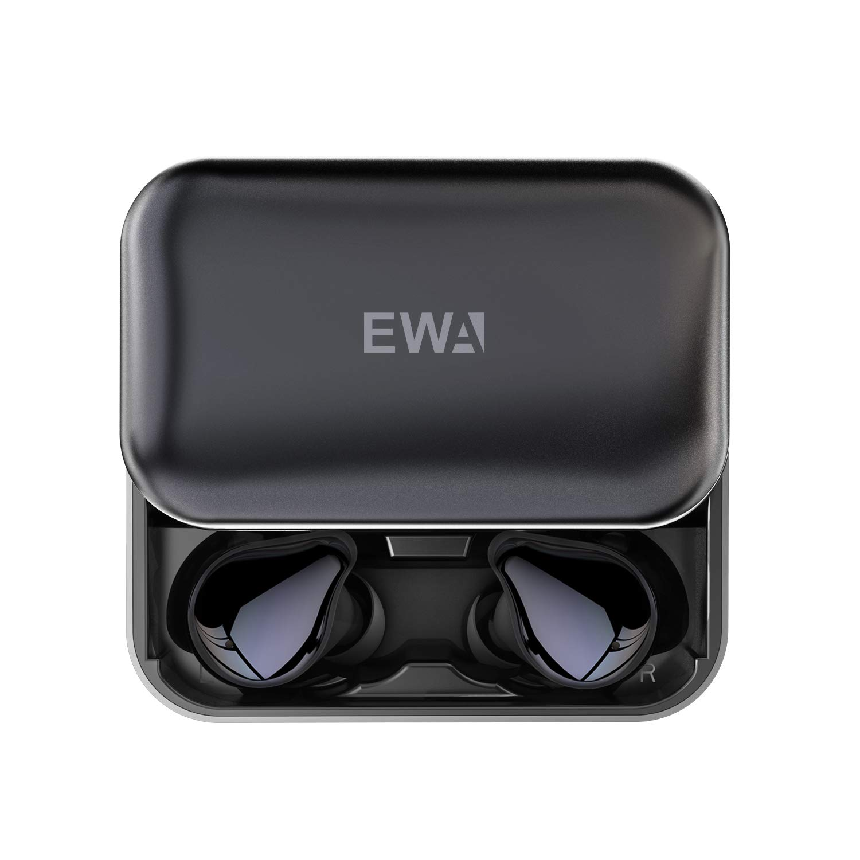 EWA T200 Bluetooth 5.0 Wireless Earbuds with 【Memory Foam Tips】2000mAh Slider Aluminum Charging Case, IP67 TWS Waterproof Headphones, Studio Level Sound Earphone, in-Ear Built-in Mic Headset for Sport