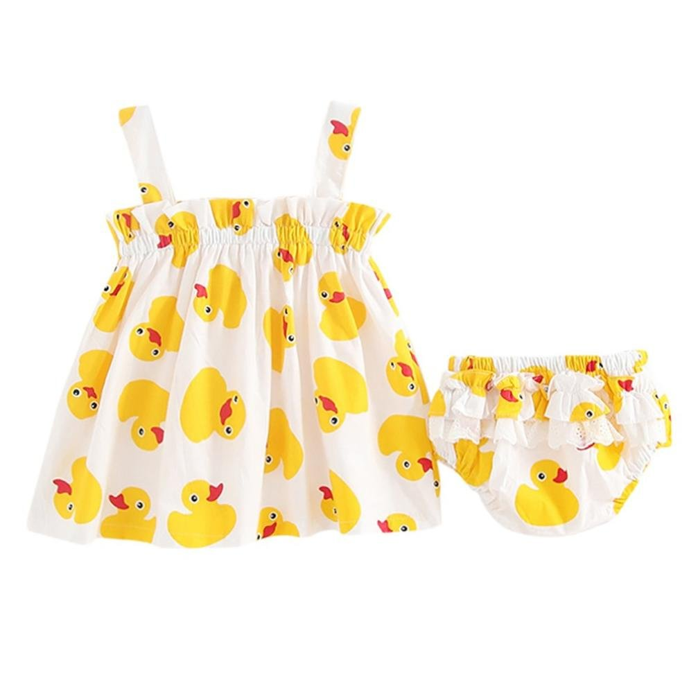 Dinglong Age 0-24 Months Newborn Baby Girls Duck Print Strap Dress+Lace Shorts Clothes Outfits Set