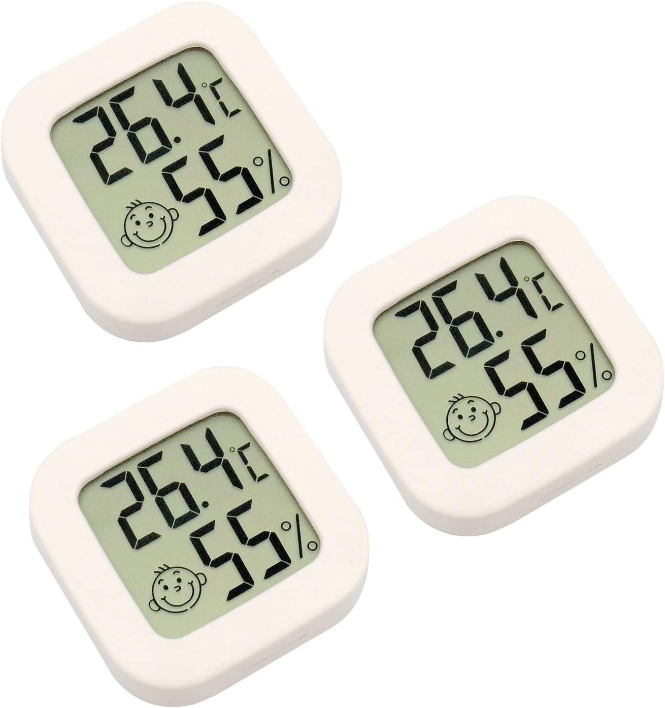 RUIZHI ZHITING 3 Piezas Mini Termómetro Digital para Interiores de Higrómetro Temperatura de Humedad Pantalla LCD Termómetro de Sensor Inalámbrico Bluetooth para el Hogar