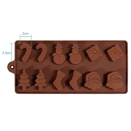 faburo 2pcs navidad para bombones, pastel, gelatina y hielo silicona Fondant molde molde y 10 piezas para galletas molde: Amazon.es: Hogar