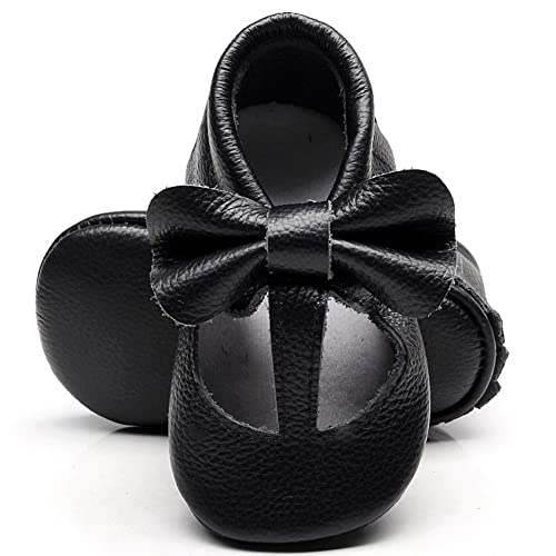 HONGTEYA Leather Baby Moccasins Shoes T-bar Rubber Sole Bow Baby Girls  Toddler Loafers Shoes aa53b29829ca