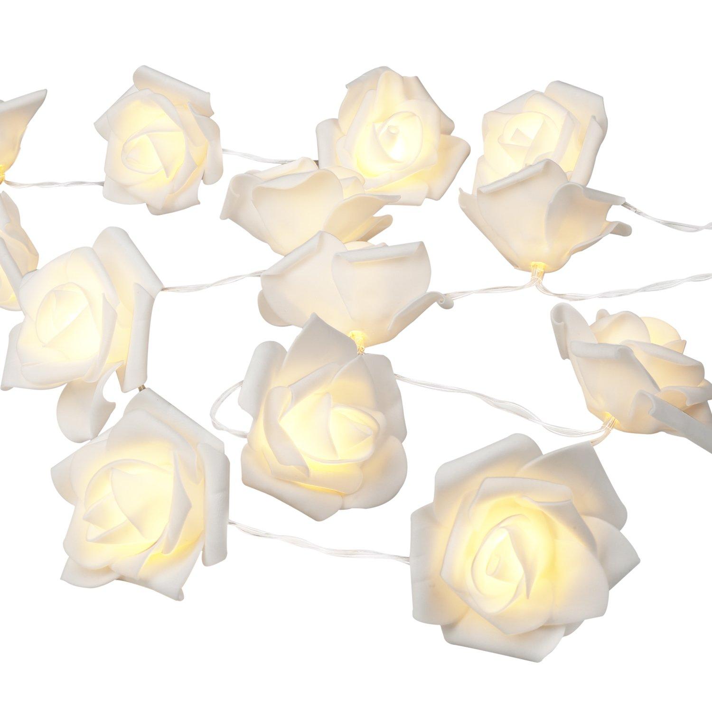 Denknova® 20er LED Rosen Lichterkette, batteriebetrieben, Warmweiß, 2 Meter Warmweiß DE-DC-BMG20LNB
