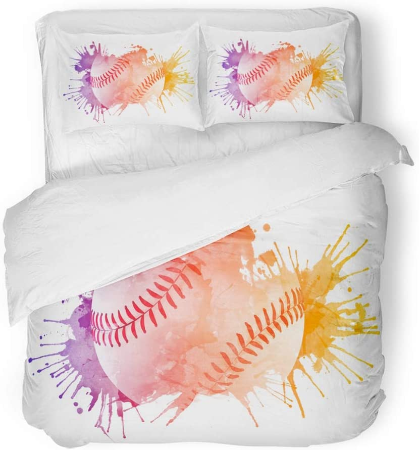 Emvency Bedding Duvet Cover Set Twin (1 Duvet Cover + 1 Pillowcase) Watercolor Softball Baseball Ball Paint Rainbow Activity Competition Contemporary Hotel Quality Wrinkle and Stain Resistant