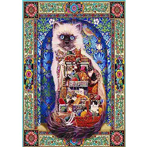 Pet Cat Decor Diamond Painting,Pausseo Merry Christmas Xmas Gift 5D DIY Drilling Drawing Accessories Cross Stitch Kits Embroidery Picture Rhinestone Pasted Home Decor for Adults or Kids - 40x30cm