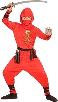 NET TOYS Traje Ninja Rojo para niño Atuendo Samurai L 158 cm años ...