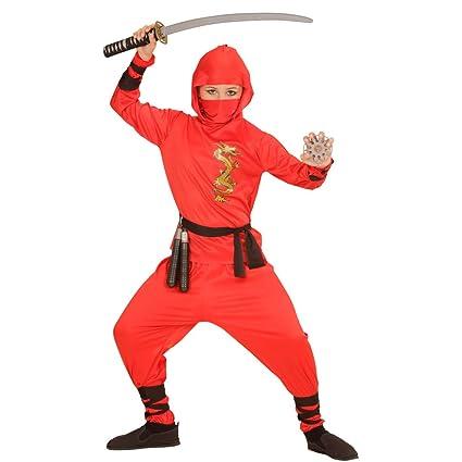 NET TOYS Traje Ninja Rojo para niño Atuendo Samurai L 158 cm ...
