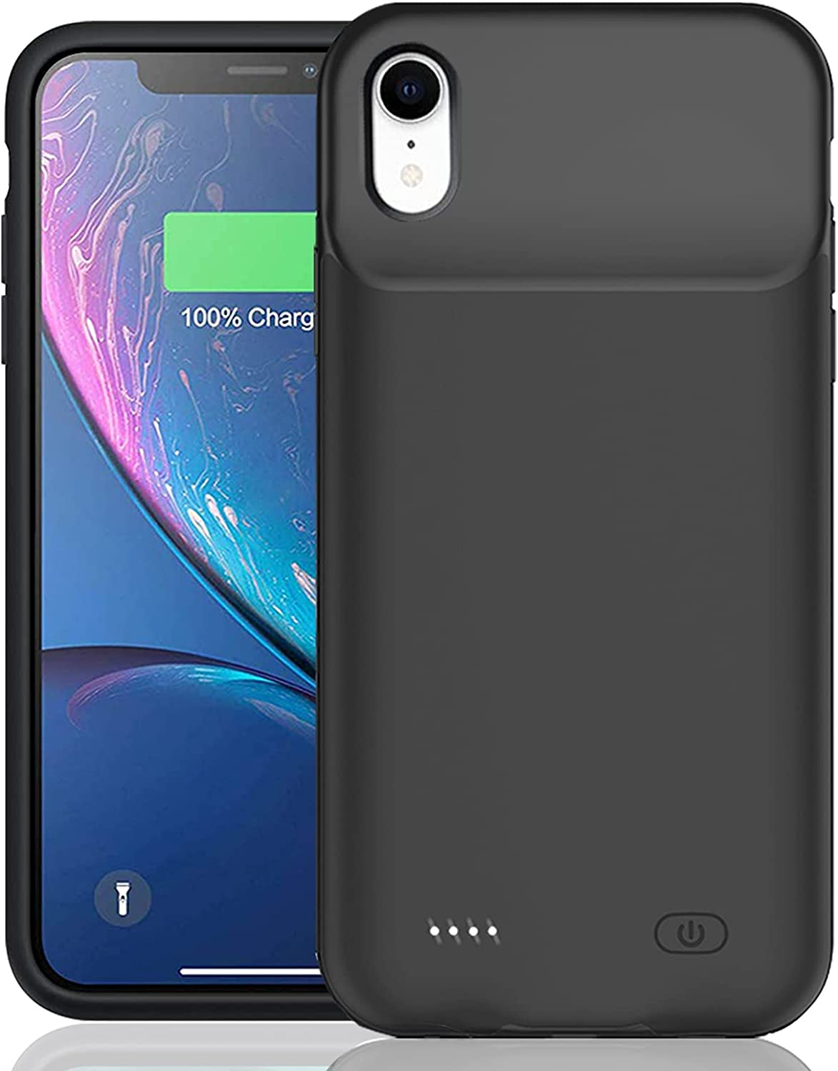 Battery Case for iPhone XR, Enhanced 7000mAh Smart Rechargeable Portable Protective Charging Case Extended Battery Backup Pack Compatible with iPhone XR (6.1 inch) Charger Case (Black)