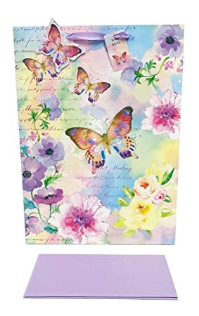 Birthday Gift Bag Extra Large Women Mothers Day Girls Tissue Paper Set Butterfly
