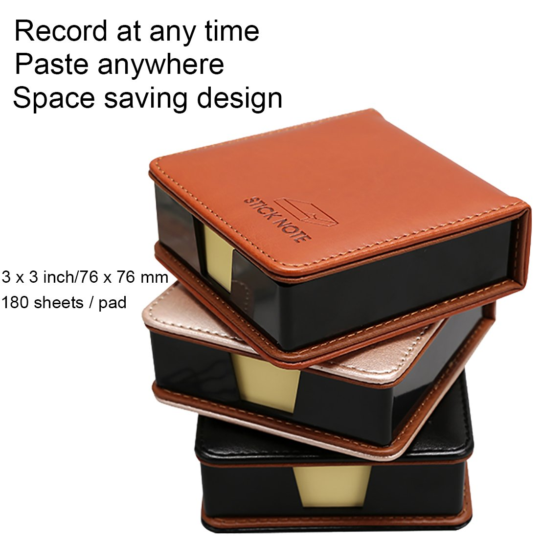 MyLifeUNIT Business Sticky Notes Holder with 3 x 3 inch Sticky Note, 3 Pack (Black) by MyLifeUNIT (Image #2)