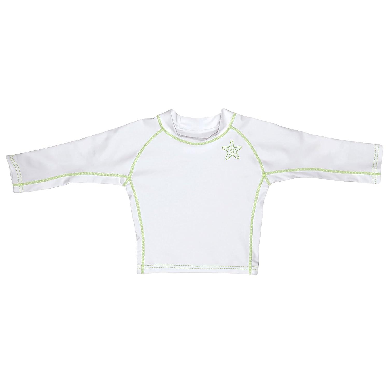 Iplay Long Sleeve Rashguard Shirt-White//Lime Green-18mo