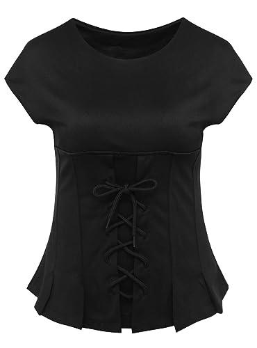 Beauty7 Camiseta con Mangas Corta para Mujer Falda Mini Casual Ocasional Atan la Cintura de Cuello R...
