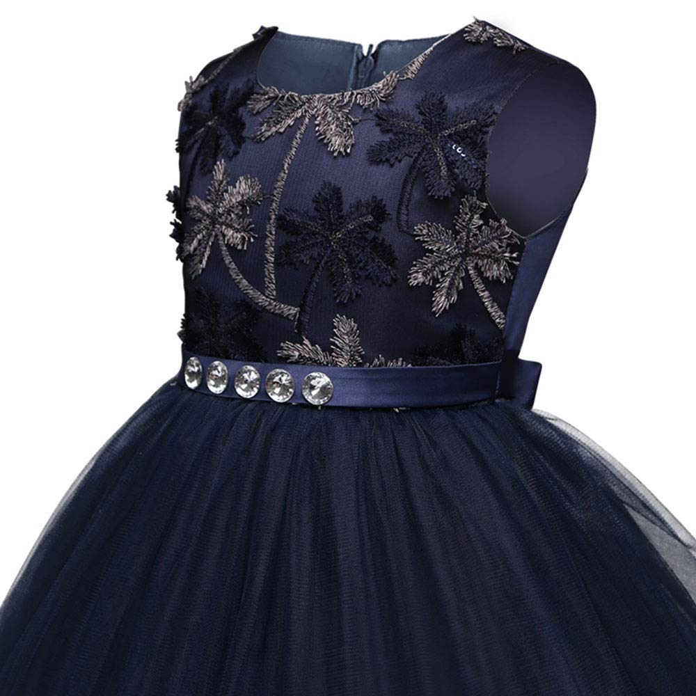 Embroidery Prom Gown Wedding 5-14Y Yuntown Flower Girls Lace Princess Dresses