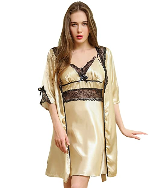 6089e99ea Hstyle Women Lingeries Nightgowns Two Pieces Sexy Babydoll Chemise Dress  Sleepwear Gold  Amazon.co.uk  Clothing