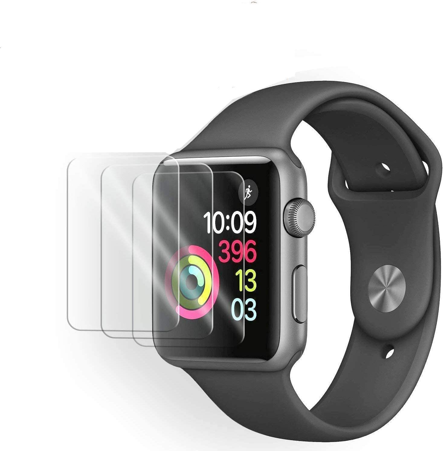 [3 Pack] Tempered Glass Screen Protector Compatible with Apple Watch Series 3/2 38mm, 3D Full Coverage Anti-Scratch Shatter-Proof HD Clear Waterproof Screen Protector Film