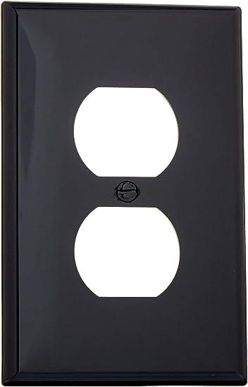 Leviton Pj8 E 1 Gang 1 Duplex Midway Nylon Wallplate Midway Size Black 1 Pack Outlet Plates Amazon Com