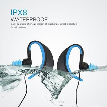 IPX8 Over Ear impermeable en la oreja Auriculares estéreo con cable deportivo para correr Ejercicio Gym