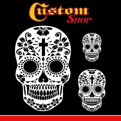 Custom Shop Airbrush Sugar Skull Day Of The Dead Stencil Set (Skull Design #15 in 3 Scale Sizes) - Laser Cut Reusable Templates - Custom Airbrush Helmets