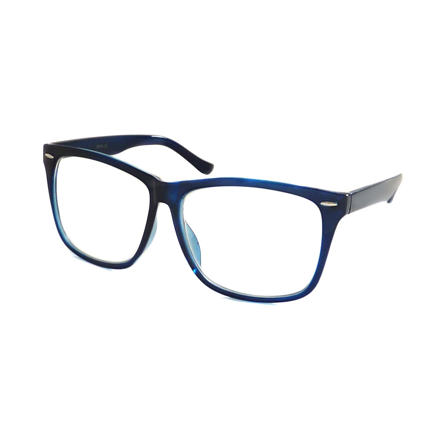 5939112707c Amazon.com  NERD Geek 50s Style Oversize Trendy Frame Unisex Clear Lens Eye  Glasses BLUE  Clothing
