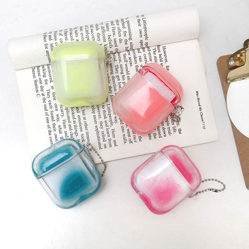 Soft Silicone Earphone Protection Skin for AirPods1/&2 New Beautiful Bling Brilliant Luminous Moving Sand Design AirPods Case UR Sunshine AirPods Case Yellow