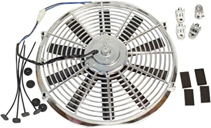 7 INCH 12V CHROME SILVER MOTOR LOW PROFILE HIGH PERFORMANCE THERMO FAN 12VOLT