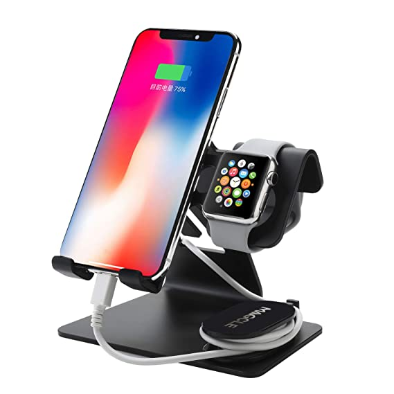 free shipping af465 e8652 Cell Phone Stand for iPhone Xs/XR/XS Max, Magcle Aluminum Watch Stand for  Apple iWatch Series 4/3/2/1 Charging Stands Dock,3 in 1 Stands Holder for  ...