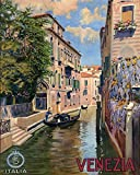"""16"""" X 20"""" CANVAS Venice Gondola Venezia Italia Italy Italian Travel Tourism Vintage Poster Repro Standard Image Size for Framing. Shipped Rolled Up. We Have Other Sizes Available"""