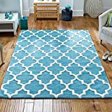 Arabesque Wool Rug Light Teal 120 x 170cm (4ft x 5ft3 approx) by The Good Rug Company