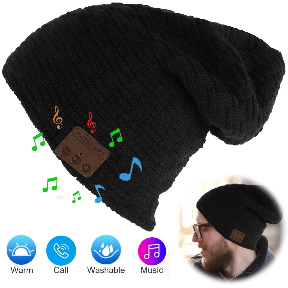 Bluetooth Hat, Bluetooth Beanie with Wireless Bluetooth 5.0, Winter Hat Built-in Detachable HD Stereo Speakers Mic, Unisex Music Beanie Knit Cap for Outdoor Sports Christmas Tech Gifts for Men Women