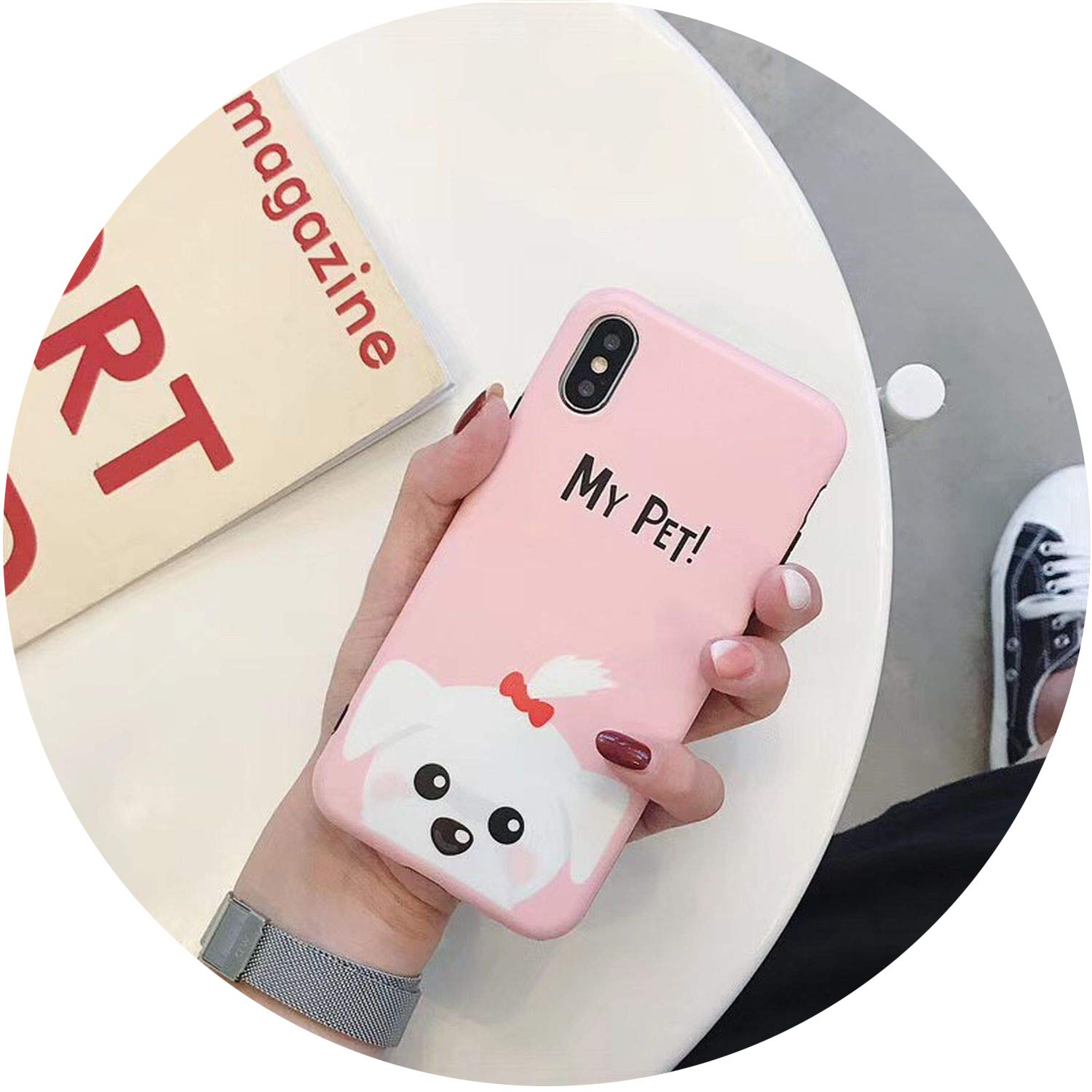 Cartoon Bull Dog Phone Cases for iPhone Xs Max Xr X Matte Soft TPU Case for iPhone 7 6S 6 8 Plus Cute Back Cover Shell Coque,Style02,for iPhone 7 8