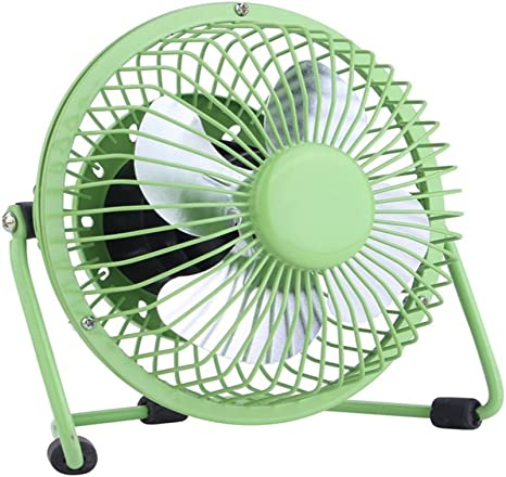 Green Grewtech 4.0 Inch Metal Design Desk Fan Small Quiet Electric Desktop Fan USB Powered