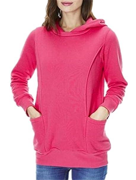 Aivosen Hoodies Mujer Manga Larga Camisas Bonitas Tops Color Puro Sudaderas con Capucha Bolsillo Pullover Conveniente