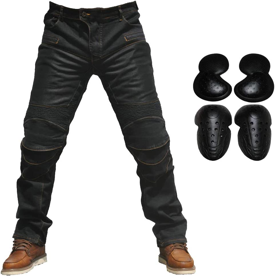 2019 Men Motorcycle Riding Jeans Armor Racing Cycling Pants with Upgrade Knee Hip Protector Pads Black, XL=34