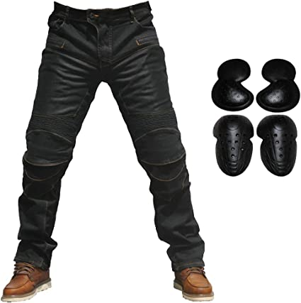 Men Motorcycle Riding Jeans Armor Racing Cycling Pants with Upgrade Knee Hip Protector Pads Black, 36