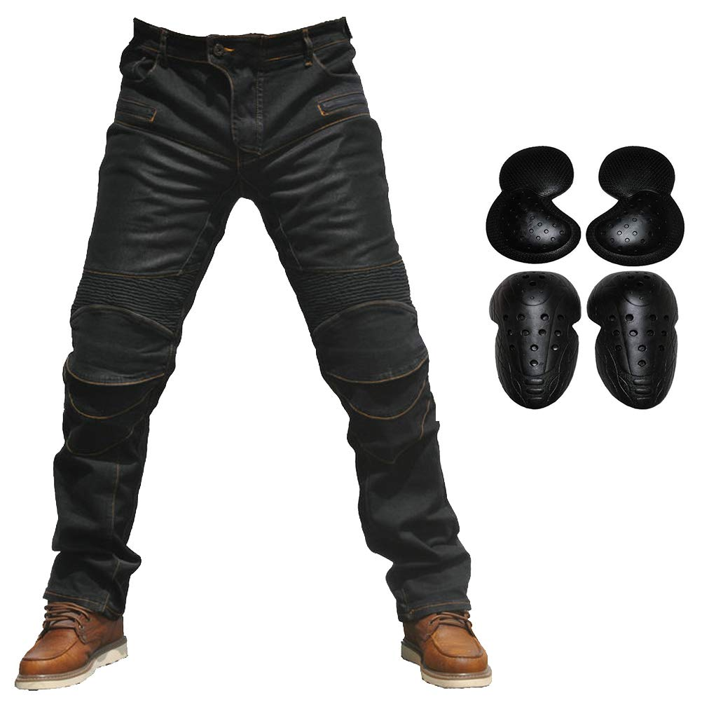 2019 Men Motorcycle Riding Jeans Armor Racing Cycling Pants with Upgrade Knee Hip Protector Pads (Black, M=30)