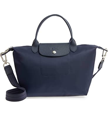 18697ab972 Longchamp 'Le Pliage Neo' Nylon Top Handle Tote Shoulder Bag, Navy:  Handbags: Amazon.com