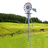 TStore Weather Vane Yard Windmill Ornamental Decorative Wind Wheel Silver with Red Tips Garden 8Ft Tall