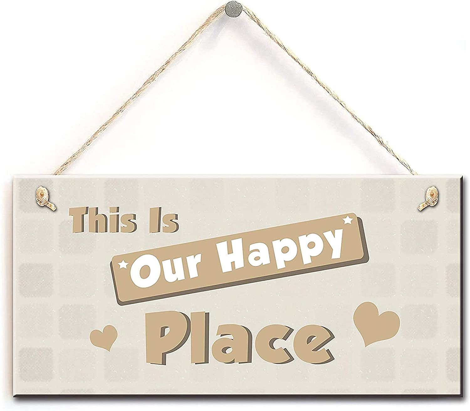 Front Door Sign- This is Our Happy Place Sign with Little Heart Decor, Home Accessory Gift Sign 10