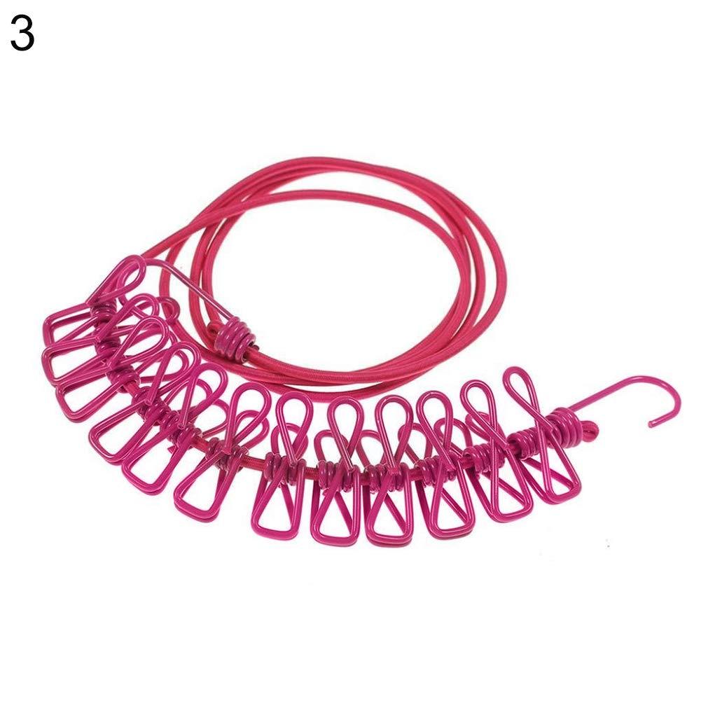 12 Clips Cuerda de lavander/ía port/átil Resistente al Viento jiyoujianzhuzhuangshigongchengyouxiangongsi