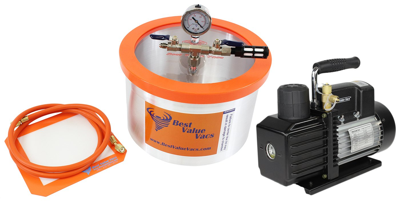 2 Gallon Aluminum Best Value Vacs Vacuum Degassing Chamber and VE115 3CFM Single Stage Vacuum Pump Kit, Degass, Purge, Silicone, Resin, Epoxy
