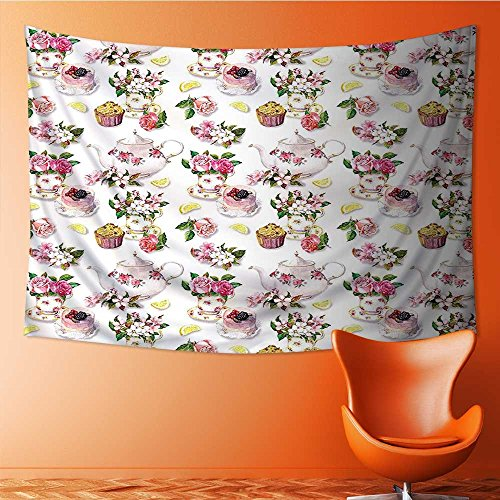 Nalahome Wall Tapestries Roses Teapots Leaves Cakes Lemon Art Print Tapestry Table Cover Bedspread Beach Towel Lattern(90.5W x 59L INCH) (Tea Rose Bedspread)