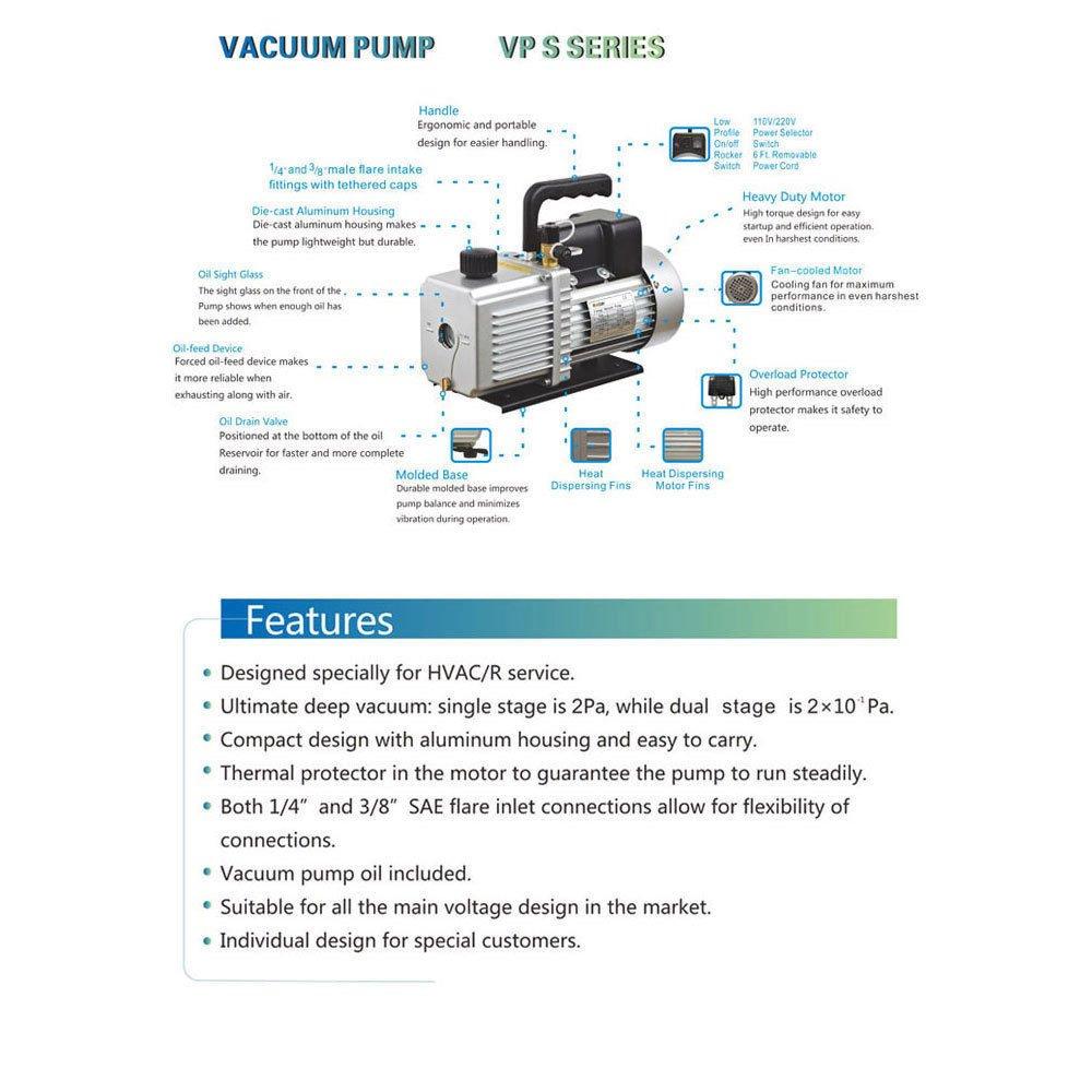 45cfm 1 2hp Two Stage Vacuum Pump Air Conditioning Refrigeration Diagram And Vacuum15 Diy Tools
