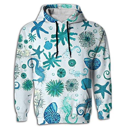 WOOIbv Seahorse Sea Watercolor Beach Sheel Men's Pullover Polyester Hooded - Sheel Sea