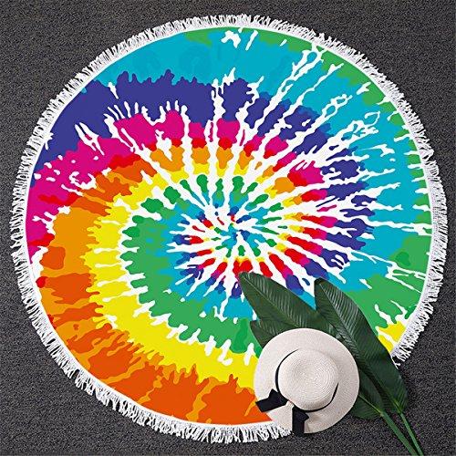 BlessLiving Rainbow Tie Dye Beach Towel Colorful Tye Dye Yoga Mat Round Beach Blanket with Tassels (59 inch)